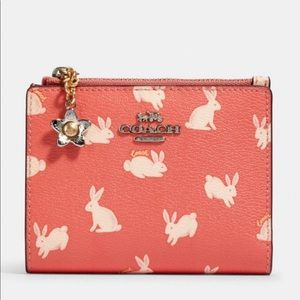 NWT Snap Card Case Wallet With Bunny Script Print